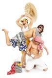 Le groupe positif des jeunes en été vêtx Photos stock