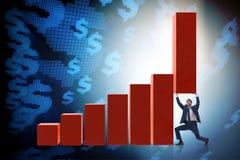 Le growtn de soutien d'homme d'affaires dans l'économie sur le graphique de diagramme image libre de droits
