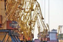 Le gru funzionano con i contenitori, nel porto commerciale di Odessa fotografia stock libera da diritti