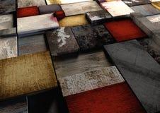 Le grunge coloré a donné aux blocs une consistance rugueuse d'impression en bois étroitement emballé t Image libre de droits