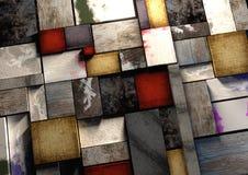 Le grunge coloré a donné aux blocs une consistance rugueuse d'impression en bois étroitement emballé t Images libres de droits