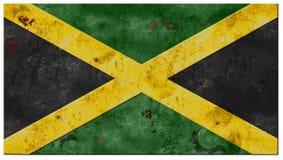 Le grunge de drapeau de la Jamaïque s'est rouillé amusement de saveur d'île en métal de vintage Photo libre de droits