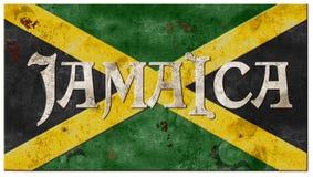 Le grunge de drapeau de la Jamaïque s'est rouillé métal Montego Bay de vintage Image libre de droits