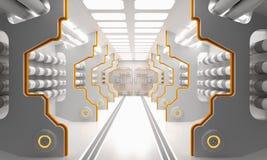 Le grunge de la science fiction a endommagé le fond métallique de couloir illuminé avec les lampes au néon 3d pour rendre - l'ill illustration de vecteur