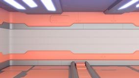 Le grunge de la science fiction a endommagé le fond métallique 3d de couloir pour rendre illustration libre de droits