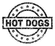 Le grunge a donné aux HOT-DOGS une consistance rugueuse emboutissent le joint illustration stock
