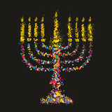Le grunge a stylisé Chanukiah coloré (menorah) sur le fond noir illustration de vecteur