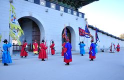 Le guarde armate del palazzo di Gyeongbokgung Fotografia Stock Libera da Diritti