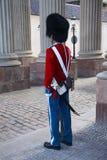 Le guardie dell'onore in uniforme rossa di galla che custodicono il palazzo reale di Amalienborg della residenza a Copenhaghen, D fotografia stock libera da diritti