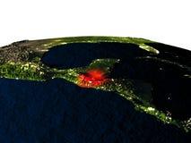 Le Guatemala de l'espace la nuit Image stock