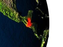 Le Guatemala de l'espace pendant le crépuscule Image stock