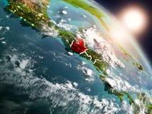 Le Guatemala de l'espace pendant le lever de soleil illustration stock