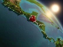 Le Guatemala de l'espace pendant le lever de soleil illustration libre de droits