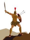 Le guerrier spartiate fâché avec l'armure et le hoplite protègent tenir un commutateur Images libres de droits