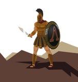 Le guerrier spartiate fâché avec l'armure et le hoplite protègent tenir un commutateur Photographie stock