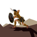 Le guerrier spartiate fâché avec l'armure et le hoplite protègent tenir un commutateur Images stock