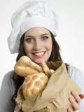 Le kock med italienskt bröd Arkivbild