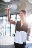 Le hållande övre för servitris ett tomt vinexponeringsglas Arkivfoto