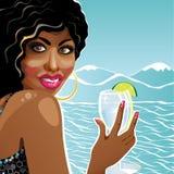 Le hållande exponeringsglas för flickamulatt av rent vatten. Stock Illustrationer