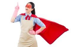 Le héros superbe de femme au foyer a eu la nouvelle idée Photographie stock