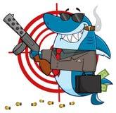 Le hajgangster Cartoon Mascot Character som bär ett hållande innehav för portfölj en kulsprutepistol stock illustrationer