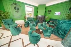 Le hall cinq d'invité tiennent le premier rôle l'hôtel dans Kranevo, Bulgarie Photos stock