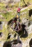 Le harnais est préparé pour s'élever dans Saxon Suisse photos stock