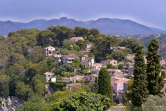 Le Haut de Cagnes sur Mer in France. Aerien view of village Le Haut de Cagnes sur Mer in the surrounding countryside in southeastern France, department Alpes Royalty Free Stock Photo