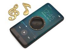 Le haut-parleur sur le smartphone et la musique note le concept audio illustrat 3d illustration libre de droits