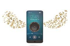 Le haut-parleur sur le smartphone et la musique note le concept audio illustrat 3d illustration de vecteur