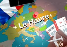 Le Havre city travel and tourism destination concept. France fla. G and Le Havre city on map. France travel concept map background. Tickets Planes and flights to stock illustration
