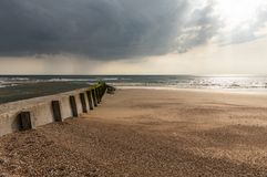 Breakwater at low tide stock photography