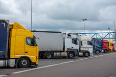 Le Havre, France - May  04, 2018 : Trucks parked on a highway re Royalty Free Stock Image