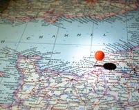 Le Havre Francia fijada en el mapa de ruta Foto de archivo libre de regalías