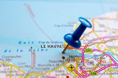 Le Havre on map. With push pin. Newhaven Stock Image