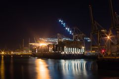 Le Havre Port and its shipping activities in France. At night Royalty Free Stock Images