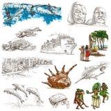 Le Hawai - illustrazioni disegnate a mano 100% su bianco Fotografia Stock Libera da Diritti