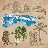 Le Hawai - viaggio Vettori disegnati a mano, pacchetto Fotografie Stock