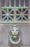 Le heurtoir de cuivre en laiton terni de bouton de porte de tête de lion se tient le premier rôle Images stock
