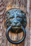 Le heurtoir principal du lion de style ancien sur le blanc photographie stock libre de droits