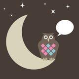 Le hibou était perché sur la lune illustration libre de droits
