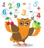 Le hibou drôle apprennent à compter et des chiffres sur un fond blanc Images libres de droits