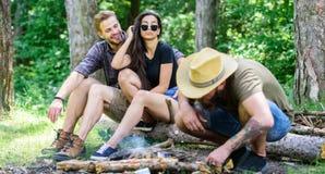 Le hippie barbu brutal campant d'homme de forêt d'amis de société prépare le feu du guide final de forêt des feux comment photos libres de droits