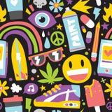 Le hippie de bande dessinée de vibraphone de mauvaise herbe d'été objecte le noir sans couture de modèle de vecteur illustration libre de droits