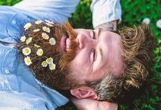 Le hippie sur le visage heureux s'étend sur l'herbe Concept de masculinité Le macho avec la barbe et la moustache apprécie le res photo stock