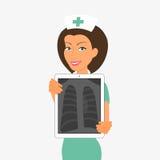 Le hjlding minnestavlaPC för sjuksköterska med röntgenstrålen Royaltyfri Bild
