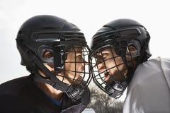 Le hockey sur glace font face hors fonction. Photos libres de droits