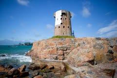 Le Hocq Martello wierza, bydło, channel islands fotografia royalty free