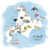 Le Hokkaido, ?le du nord du Japon - illustration d'aquarelle de carte de voyage illustration de vecteur