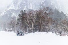 LE HOKKAIDO, JAPAN-JAN 31, 2016 : La vue de la montagne de neige dans Hokk Photographie stock libre de droits